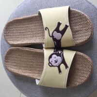 儿童拖鞋夏季家居家亚麻亲子凉拖鞋防滑软底室内男童女童宝宝拖鞋