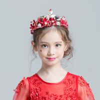 儿童皇冠 新娘头饰配饰 婚纱礼服 女童发饰 发箍红色头饰手工