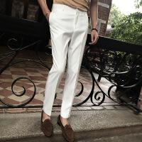新款西裤男士韩版修身白色商务免烫休闲西装裤休闲裤潮秋季黑色裤
