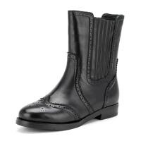 菲伯丽尔Fondberyl牛皮圆头低跟松紧带纯色深口女鞋FB54114237