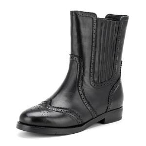 【3折到手价149.7元】菲伯丽尔Fondberyl牛皮圆头低跟松紧带纯色深口女鞋FB54114237