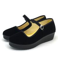 实在人老北京布鞋女厚底松糕底酒店服务员工作鞋妈妈鞋平绒舞蹈鞋