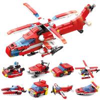 儿童积木益智拼装玩具直升机飞机8拼图小孩子男组装