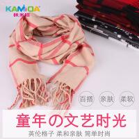 咔米嗒kamida秋冬季儿童英伦风男女格子围巾