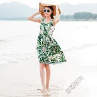 夏季连衣裙复古棉布印花短裙宽吊带修身波西米亚沙滩裙女 绿色