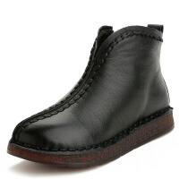 秋冬筋底软皮软底短靴女鞋复古手工妈妈靴民族风平底靴子