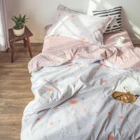 【人气】床单三件套学生宿舍单人0.9m 纯棉寝室被套儿童1.2米床上用品女生【】 品质全棉 心岛