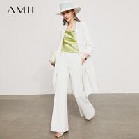 Amii极简职场风长款西装外套女2021夏季新款薄款宽松白色西服上衣