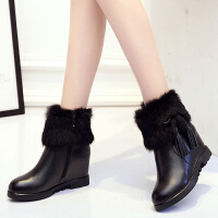 娜箐箐冬新款牛皮加绒厚底流苏短靴女圆头内增高保暖真皮女靴