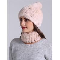 冬季女士保暖獭兔毛帽子围脖两件套韩版时尚百搭加厚带球球护耳帽