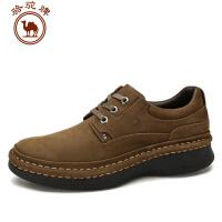 骆驼牌男鞋秋冬新款手工缝线真皮休闲鞋男士厚底增高系带皮鞋
