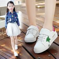 童鞋女童小白鞋秋季鞋子运动鞋儿童休闲中帮板鞋