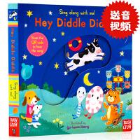 进口英文原版 Sing Along With Me Hey Diddle Diddle 童谣纸板机关操作书幼儿童趣味玩