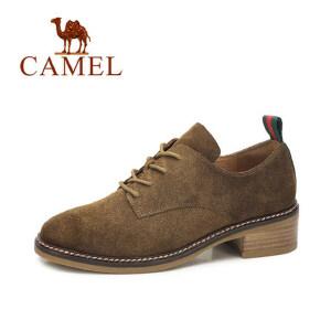 camel 骆驼女鞋  秋冬新款 复古英伦磨砂皮方跟单鞋经典系带低帮单鞋