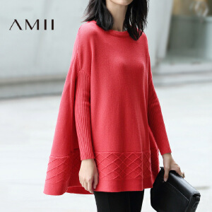AMII[极简主义]秋新款百搭宽松落肩袖针织毛衣女纯色11692188