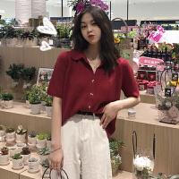 2019早春新款韩版复古洋气POLO领短袖针织衫女装网红宽松开衫上衣