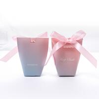 喜糖盒欧式 创意欧式装结婚婚礼喜糖盒粉色个性小号纸盒子空网红袋子