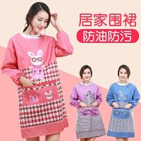 围裙韩版时尚厨房长袖罩衣家用女男士围腰工作服防油防水