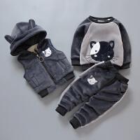 儿童冬装套装宝宝0-3岁男童棉衣服三件套