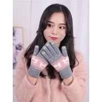 手套女冬季保暖学生韩版可爱卡通加厚毛线冬天五指骑车骑行触摸屏