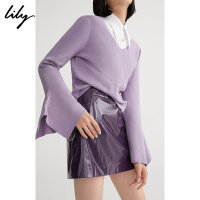 Lily春新款女装时尚潘通色V领短款直筒毛针织衫118410B8729