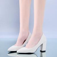 高跟鞋女米色粗跟浅口9cm大码百搭工作职业皮鞋哑光上班舒适单鞋