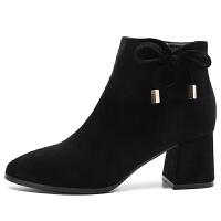 蝴蝶结短靴女粗跟2018春秋新款韩版百搭黑色裸靴磨砂踝靴高跟靴子