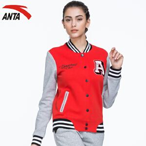 安踏女装运动外套秋季字母针织运动上衣卫衣棒球服棒球衫16638714