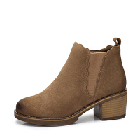 camel/骆驼女鞋 秋冬新款 简约花边短靴磨砂切尔西靴擦色短筒女靴子