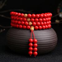 左传珠宝 红朱砂金箔手串 中国红男女款念珠手链108颗 珠径12mm 多圈