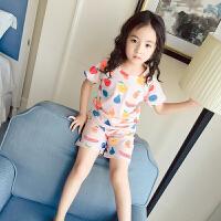 女童家居服夏季短袖套装纯棉儿童睡衣套装空调服薄款宝宝女孩子