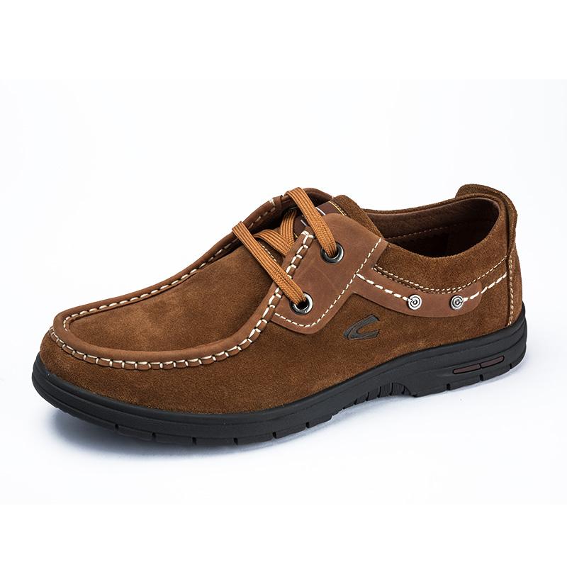 骆驼动感 秋冬款日常休闲男士真皮磨砂系带流行男鞋