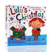【满300-100】进口英文原版绘本 Lulu's Christmas 精装翻翻操作书 露露的圣诞节 Lulus系列 幼