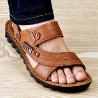【头层牛皮】夏季男士凉鞋沙滩鞋防滑两用软皮手工缝线凉拖鞋 42 头层牛皮
