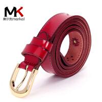 莫尔克(MERKEL)女款红色皮带牛皮镂空皮带女式时尚牛皮宽腰带女士百搭牛仔裤带本命年皮带