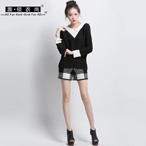 秋装新款女装羊毛衫长袖针织衫套头娃娃小翻领毛衣黑白拼色