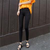 纯黑色加绒牛仔裤女长裤2018新款韩版显瘦弹力高腰小脚铅笔九分裤