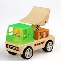 木质工程车玩具套装榉木挖土机搅拌车吊车儿童汽车模型