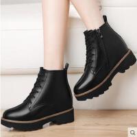 古奇天伦马丁靴秋 新款加绒古奇天伦内增高女鞋子短靴百搭韩版粗跟8547