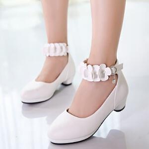 女童鞋皮鞋2017新款潮韩版秋季中大童女孩小高跟白色公主鞋儿童鞋