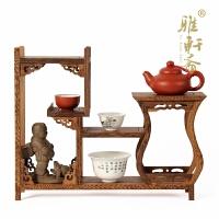 鸡翅木雕博古架紫砂壶边瓶古玩红木底座红木家具奇石底座茶壶架