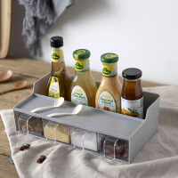 厨房置物调料盒 厨房调味盒塑料家用四格抽屉式带勺多格味精佐料盒创意调料架