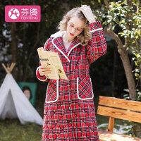 芬腾 睡衣女士加厚夹棉休闲时尚格子口袋翻领长款长袖家居服套装女 红格