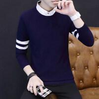 秋季假两件长袖T恤男士针织衫打底衫韩版潮流秋衣男生秋装上衣服