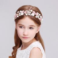 儿童头饰女童公主发饰粉色陶瓷发箍花童头饰珍珠头箍皇冠头花