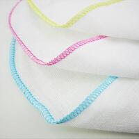 Yinbeler 【十条装】纱巾口水巾婴儿毛巾宝宝喂奶方巾白色不含荧光 新生儿小手帕双层薄纱