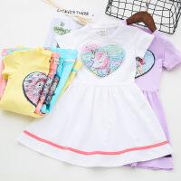 女童夏装短袖公主裙变色亮片印花连衣裙童装裙子短袖连衣裙
