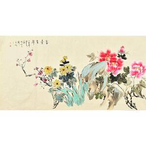 姜晓英四尺整张花鸟画gh02091