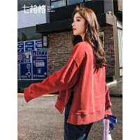 七格格红色卫衣女装宽松慵懒风2019新款春季圆领韩版学生套头上衣