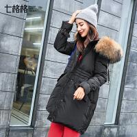 羽绒服女中长款2017新款韩版潮冬装反季宽松学院时尚百搭加厚外套